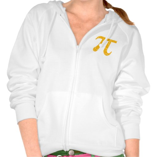 Scratched and Aged Yellow Pi Math Symbol Hooded Sweatshirt