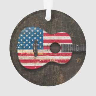 Scratched and Worn American Flag Acoustic Guitar Ornament