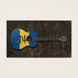 Scratched and Worn Barbados Flag Acoustic Guitar Business Card