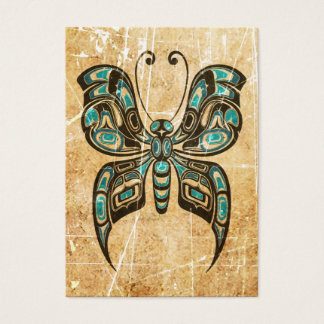 Scratched and Worn Blue Haida Spirit Butterfly Business Card