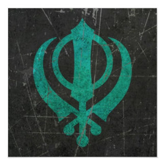 "Scratched and Worn Blue Sikh Khanda Symbol 5.25"" Square Invitation Card"