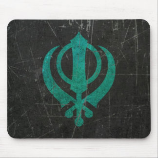 Scratched and Worn Blue Sikh Khanda Symbol Mouse Pad