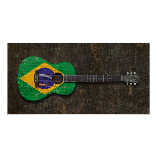Scratched and Worn Brazilian Flag Acoustic Guitar Poster