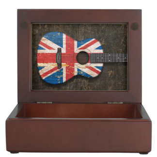 Scratched and Worn British Flag Acoustic Guitar Memory Box