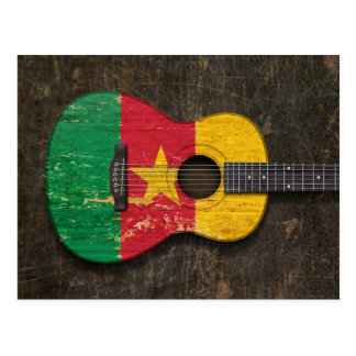 Scratched and Worn Cameroon Flag Acoustic Guitar Postcard