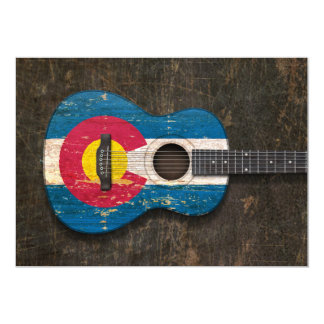 Scratched and Worn Colorado Flag Acoustic Guitar Invitations