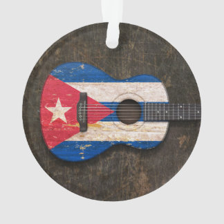 Scratched and Worn Cuban Flag Acoustic Guitar Ornament