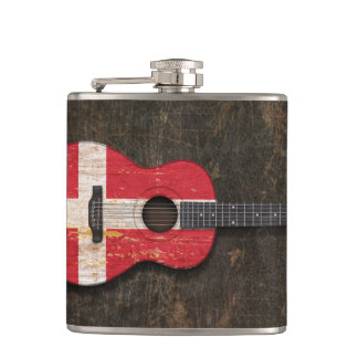 Scratched and Worn Danish Flag Acoustic Guitar Hip Flask