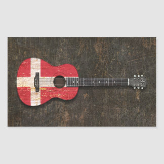 Scratched and Worn Danish Flag Acoustic Guitar Rectangle Sticker