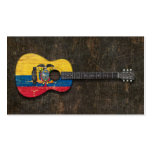 Scratched and Worn Ecuadorian Flag Acoustic Guitar Business Cards