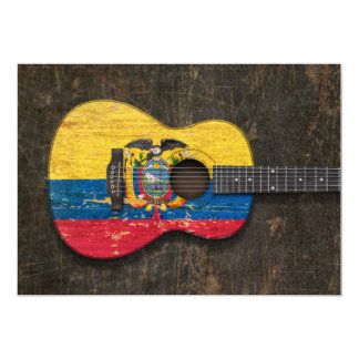 Scratched and Worn Ecuadorian Flag Acoustic Guitar 5x7 Paper Invitation Card
