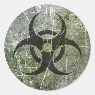 Scratched and Worn Grey and Black Biohazard Symbol Classic Round Sticker