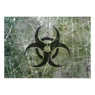 Scratched and Worn Grey and Black Biohazard Symbol Large Business Card