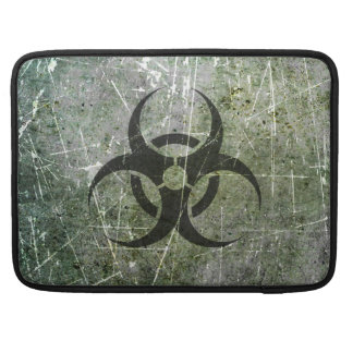 Scratched and Worn Grey and Black Biohazard Symbol Sleeve For MacBook Pro