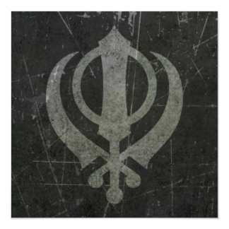 "Scratched and Worn Grey Sikh Khanda Symbol 5.25"" Square Invitation Card"