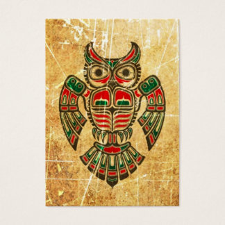Scratched and Worn Haida Spirit Owl Business Card