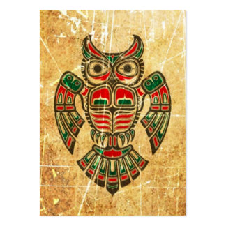 Scratched and Worn Haida Spirit Owl Large Business Card