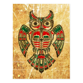 Scratched and Worn Haida Spirit Owl Postcard