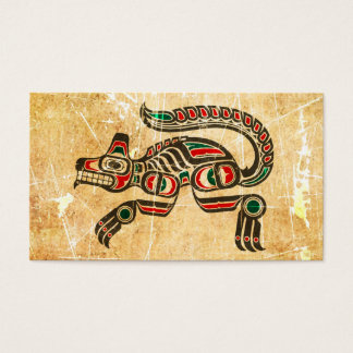 Scratched and Worn Haida Spirit Wolf Business Card