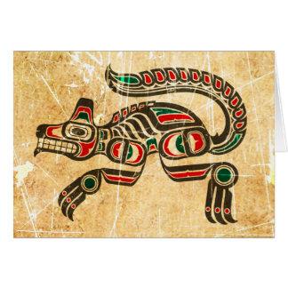 Scratched and Worn Haida Spirit Wolf Card