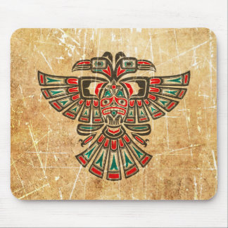 Scratched and Worn Haida Two Headed Spirit Bird Mouse Pad