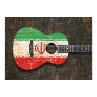 Scratched and Worn Iranian Flag Acoustic Guitar Cards