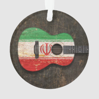 Scratched and Worn Iranian Flag Acoustic Guitar Ornament