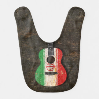 Scratched and Worn Iranian Flag Acoustic Guitar Bibs