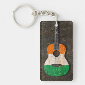Scratched and Worn Irish Flag Acoustic Guitar Keychain