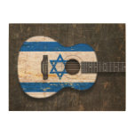 Scratched and Worn Israeli Flag Acoustic Guitar Wood Print