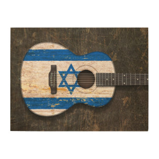 Scratched and Worn Israeli Flag Acoustic Guitar Wood Wall Art