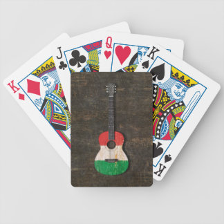 Scratched and Worn Italian Flag Acoustic Guitar Poker Cards