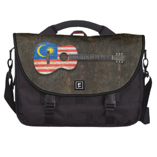 Scratched and Worn Malaysian Flag Acoustic Guitar Laptop Computer Bag