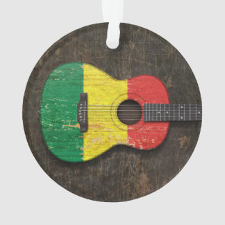 Scratched and Worn Mali Flag Acoustic Guitar Ornament