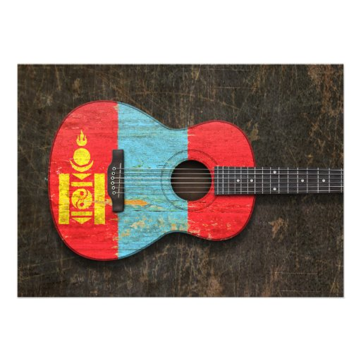 Scratched and Worn Mongolian Flag Acoustic Guitar Announcements