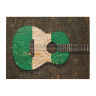 Scratched and Worn Nigerian Flag Acoustic Guitar Wood Wall Art