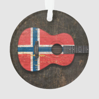 Scratched and Worn Norwegian Flag Acoustic Guitar