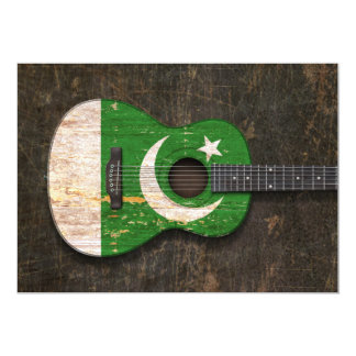 Scratched and Worn Pakistani Flag Acoustic Guitar 5x7 Paper Invitation Card