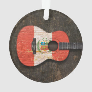 Scratched and Worn Peruvian Flag Acoustic Guitar Ornament