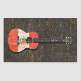 Scratched and Worn Peruvian Flag Acoustic Guitar Rectangular Sticker