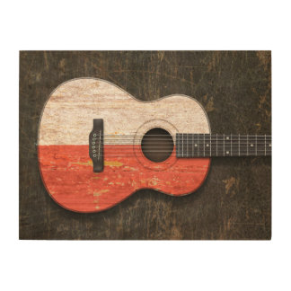 Scratched and Worn Polish Flag Acoustic Guitar Wood Wall Art