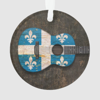 Scratched and Worn Quebec Flag Acoustic Guitar
