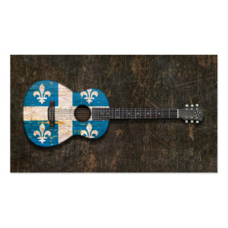 Scratched and Worn Quebec Flag Acoustic Guitar Business Card