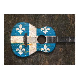 Scratched and Worn Quebec Flag Acoustic Guitar 5x7 Paper Invitation Card