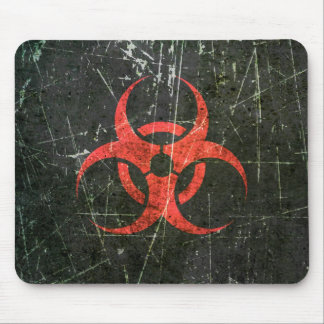 Scratched and Worn Red Biohazard Symbol Mouse Pad