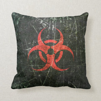 Scratched and Worn Red Biohazard Symbol Throw Pillows