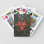 Scratched and Worn Red Biohazard Symbol Bicycle Card Decks