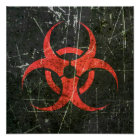 Scratched and Worn Red Biohazard Symbol Poster