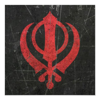 "Scratched and Worn Red Sikh Khanda Symbol 5.25"" Square Invitation Card"