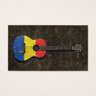 Scratched and Worn Romanian Flag Acoustic Guitar Business Card